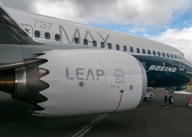 Boeing 737 MAX in test livery at Farnborough Airshow 2016