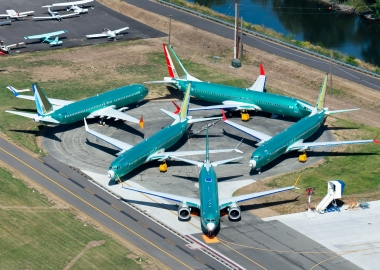 Boeing 737 MAX outside assembly line