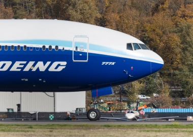 Boeing 777X taxiing at Boeing Field Airport