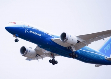 Boeing 787 Dreamliner taking off for its first flight in 2009