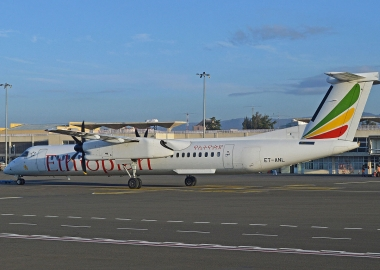 Blade debris puncture Ethiopian Dash 8 cabin in runway excursion