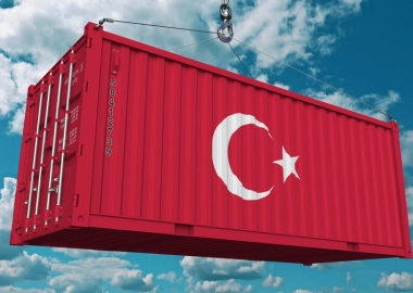 Cargo container with flag of Turkey