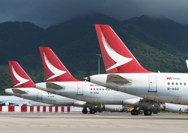 Cathay Dragon parked aircraft at Hong Kong International Airport