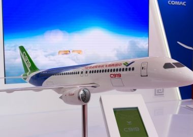 Display model of COMAC C919 at Moscow Airshow MAKS