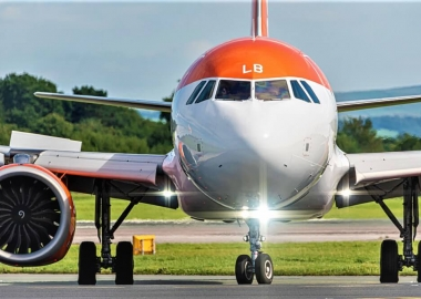 The landing lights of easyJet airlines Airbus A320-251N flight U