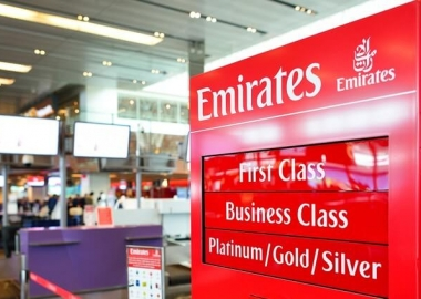 Emirates check-in counter at Singapore Changi International Airport