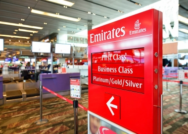 Emirates check-in counter at Singapore Changi Airport