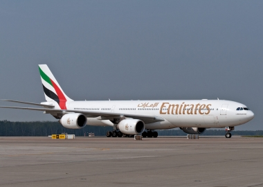 Emirates Airbus A340 taxiing in Moscow, Russia