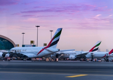 Emirates Airbus A380 and Boeing 777 at Dubai International Airpor