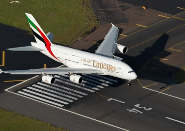 Emirates Airbus A380 landing at Sydney Airport SYD