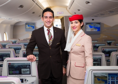 Emirates cabin crew onboard an aircraft