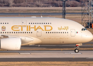 Etihad Airways Airbus A380 at New York John F Kennedy Internation