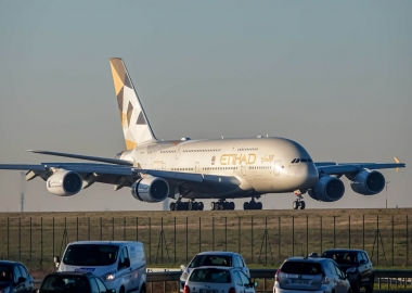 Etihad Airways Airbus A380 landing at Paris Charles De Gaulle Int