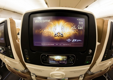 Etihad Airways screen on Airbus A380 aerotime news