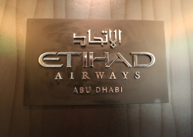 Etihad Airways logo on the Abu Dhabi based airline aircraft