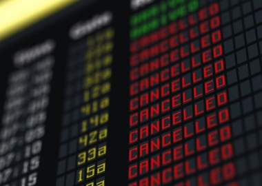Flights canceled or delayed on information board