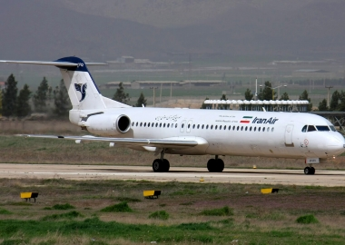 Iran Air Fokker F-100 lands with fire