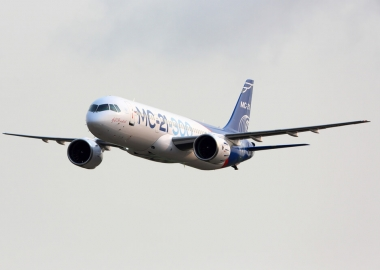 Irkut MC-21-300 landing at Zhukovsky Airport in Moscow, Russia
