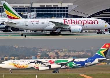 Ethiopian Airlines Boeing 787-8 and South African Airways Airbus