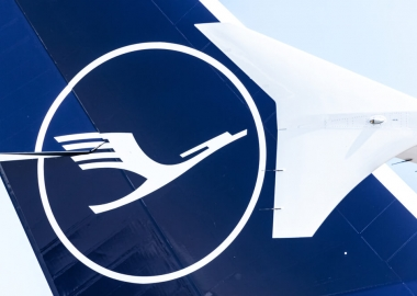 Lufthana logo on the tail of an Airbus A380 parked at Munich Airp