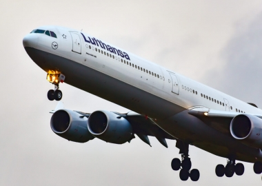 Lufthansa Airbus A340-600 taking off from Frankfurt Airport FRA