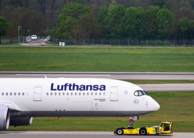 Lufthansa Airbus A350 towed at Frankfurt Airport FRA