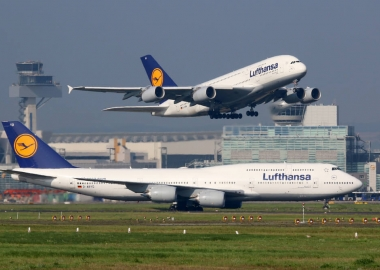 Lufthansa Airbus A380 and Boeing 747 at Frankfurt Airport FRA