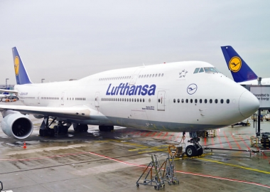 Lufthansa Boeing 747-8 at Frankfurt Airport FRA in Germany