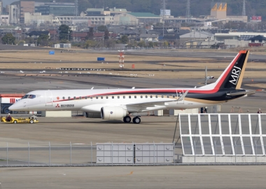 Mitsubishi SpaceJet, formerly known as the MRJ, parked at an airp