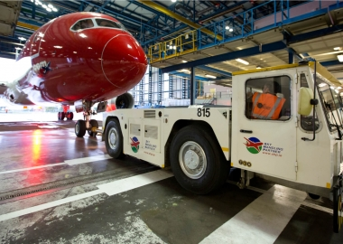 Norwegian Air Boeing 787 Dreamliner at a maintenance hangar in Du