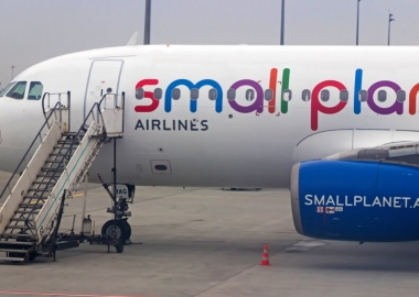 Parked Small Planet Airbus A320 aircraft