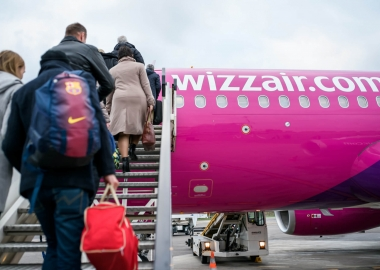 Passengers boarding a Wizz Air Airbus A320 at Vilnius Airport VNO