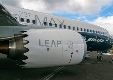 Prototype Boeing 737-8 Max at the Farnborough Airshow in July 201