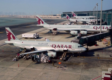Qatar Airways planes at Doha airport