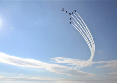 RAF aerobatic team Red Arrows performs during airshow session NAT