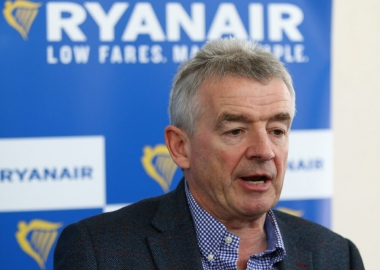 Ryanair Chief Executive Officer Michael O'Leary speaking at a pre