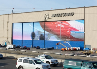 Boeing sign on the airplane hangar
