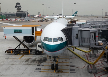 Plane cathay pacific airline stop in gate hongkong international