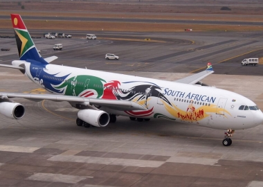 South African Airways Airbus A340 in a special Olympic team color