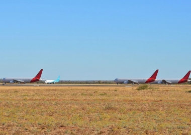 group of stored Boeings at the Alice Springs Airport aircraft bo