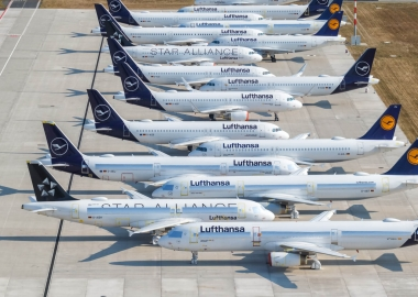 Stored Lufthansa Airbus A320 family aircraft at Berlin Brandenbur