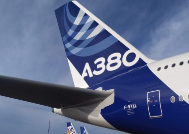 Tail of Airbus A380 in Airbus test livery