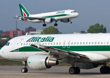 Two Alitalia Airbus A320 aircraft in Milan Linate Airport LIN, It