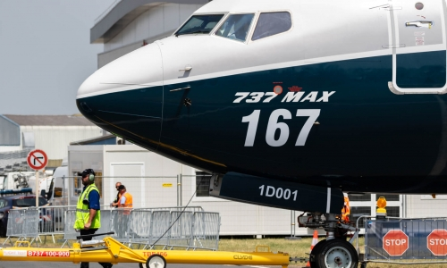 Boeing 737 MAX towed to the runway