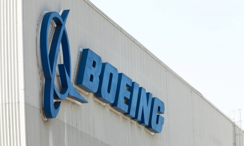 Boeing logo on its Renton, Washington factory