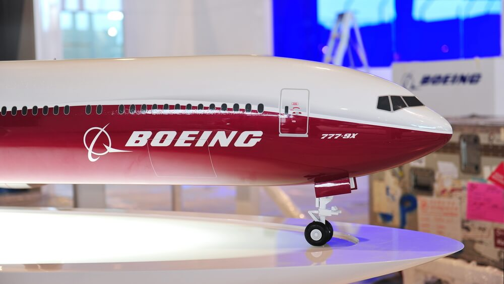 Boeing 777X model on display at Singapore Air Show in 2014