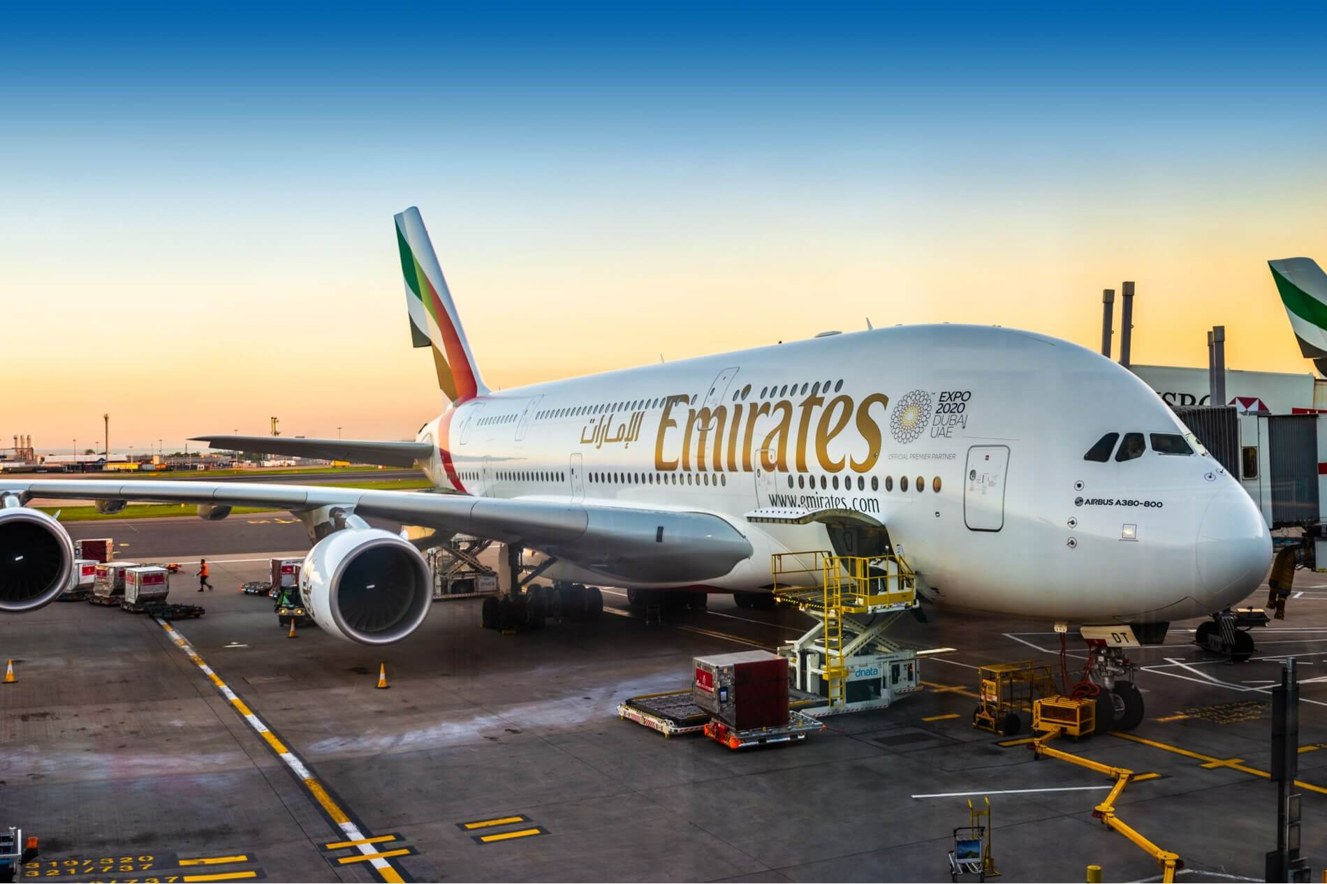 Emirates Airbus A380 at London Heathrow Airport LHR parking gate