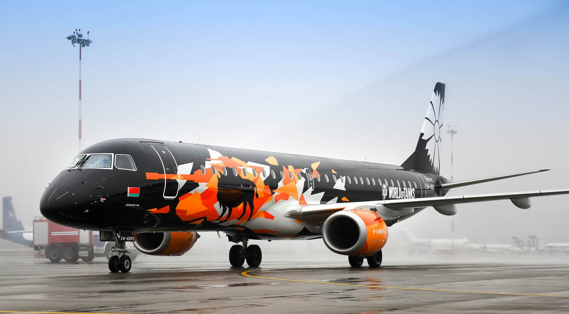 Belavia's E-195 combines World of Tanks with national symbols